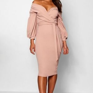 Off the shoulder wrap midi dress (Blush)